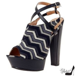 Joy Black White & Gray Chevron Peep Toe 70s Heels